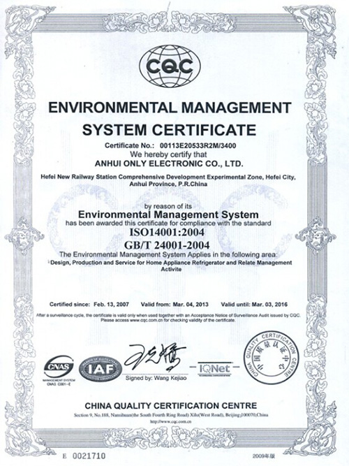 English version of environmental management system certification